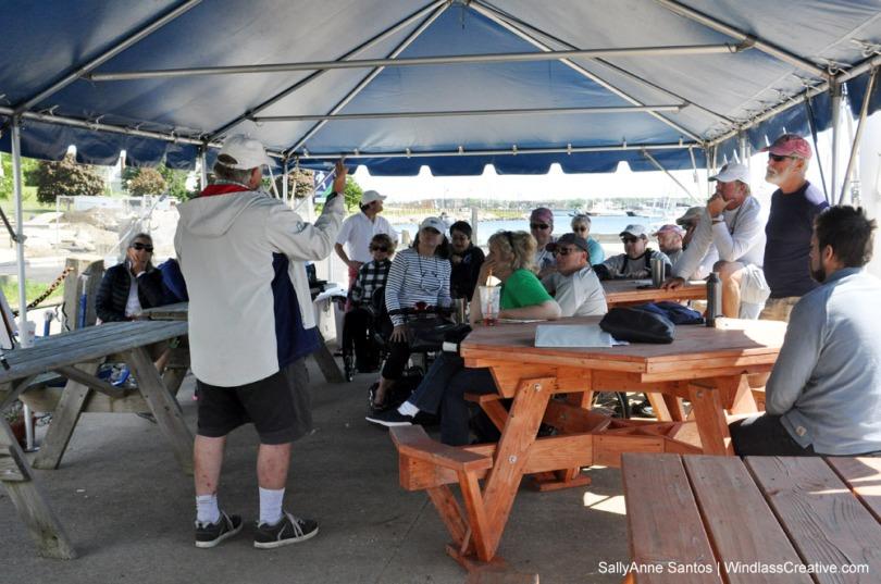Bill Shore gives a chalk talk to 2.4mR skippers at METREFEST NEWPORT 2017