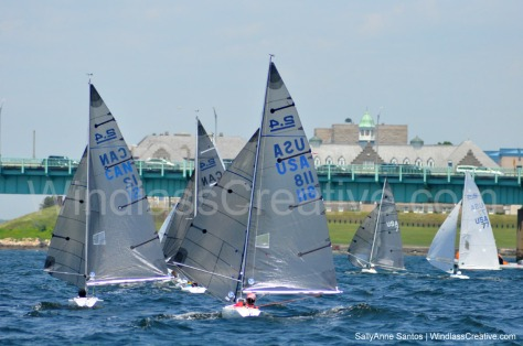 The 2.4mR fleet chases Dee Smith in USA-7. With his Around the Island Race win on Friday and 3 bullets today, Smith has sailed a perfect regatta to date.